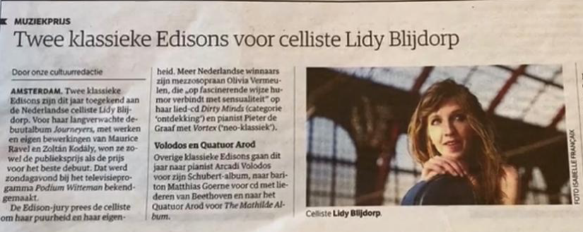 Two Edisons for Lidy Blijdorp